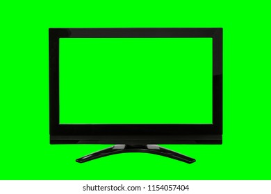 Modern television with cut out screen isolated on chroma key green.