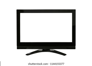 Modern television isolated on white with cut out screen.