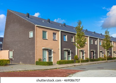 Modern Terra Colored Middle Class Town Houses in the Netherlands, Europe