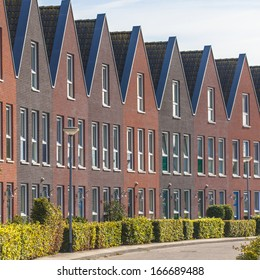Modern Terraced Family Houses with Hedgerows in Groningen, the Netherlands