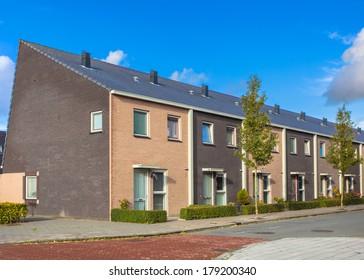 Modern Terraced Houses Neighborhood in Various Colors