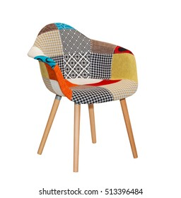 Modern textile chair in colorful pattern isolated
