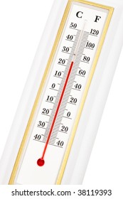 modern thermometer close up on white background