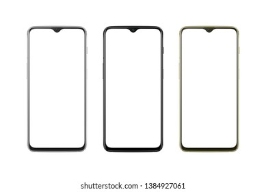Modern thin and round edges phone in silver, black and gold color. White screen for mockup, isolated.