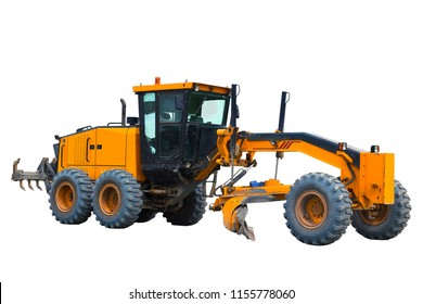 Modern three-axle road grader isolated on a white background.