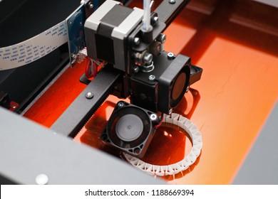 Modern three-dimensional printer during work. Close up printing detail