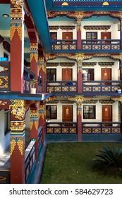 Modern tibetan monastery in Dakshinkali, Nepal. Residential house for monks.