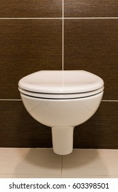 Modern toilet seat decoration in bathroom interior