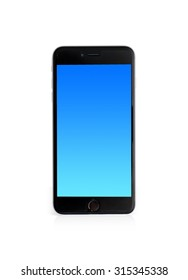 Modern touch screen smartphone and blue screen isolated on white background with clipping path.