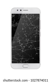 modern touch screen smartphone with broken screen isolated on white background.