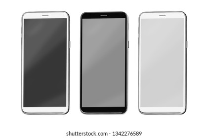 modern touch screen smartphone isolated on white background with clipping path
