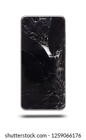 modern touch screen smartphone style black color with broken screen isolated on white background. with clipping path.