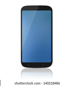 Modern touch-screen internet cell phone / mobile isolated on a white background with reflection.