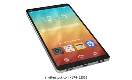modern touchscreen smartphone isolated on white - 3d render