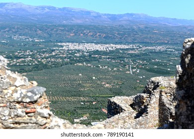 The modern town of Sparta of Greece, in the same site as ancient, as seen from the castle of Mystras.