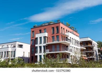 Modern townhouses seen in Berlin, Germany