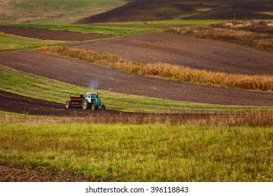 modern tractor in the agricultural field