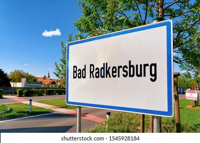 Modern Traffic road sign on white - Bad Radkersburg construction symbol. Design element in Austria. Street information concept. Retro Highway. Transportation board frame. Sky on background
