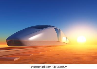 Modern train in the desert.