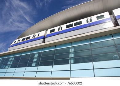 Modern train in Dubai.