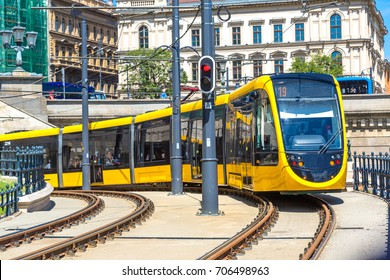 Modern tram in Budapest in Hungary in a beautiful summer day