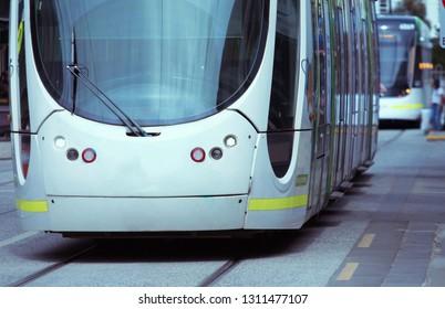 Modern tram in Melbourne Australia