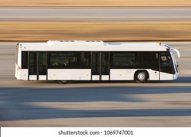 Modern transport bus on asphalt rides at high speed
