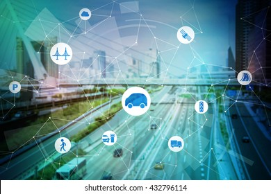 modern transportation and communication network, intelligent vehicle, smart transportation, internet of things, abstract image visual
