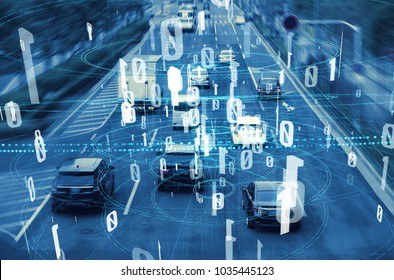 Modern transportation and digital network concept. Traffic monitoring system.