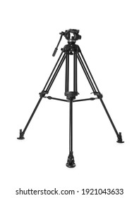 Modern tripod for camera isolated on white