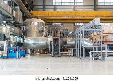 Modern turbine hall of nuclear power plant