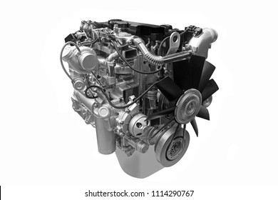Modern  turbodiesel engine isolated on white background