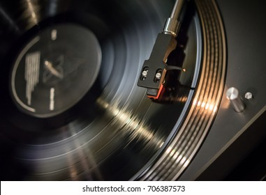 A modern turntable to play music on audio disc. Hifi audiophile turn table device
