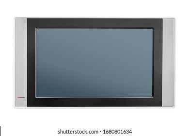 Modern tv screen with audio speakers. Isolated on white, clipping path included. Frontal view