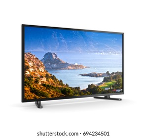 Modern Tv Set with Screen Showing Kos Greek Island Landscape on White Background 3D Illustration
