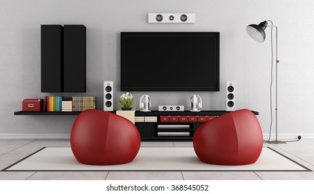 Modern TV Wall Unit In A Living Room With Two Red Armchair On Carpet   3D