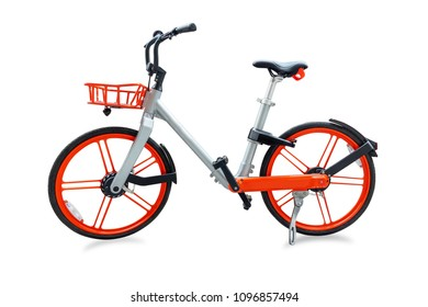 Modern two-wheeled bicycle isolated on white background with Clipping path.
