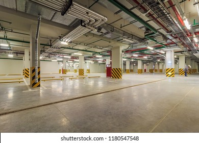 Modern underground parking without cars