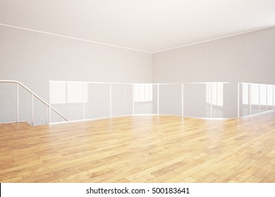 Modern unfurnished interior with wooden floor, concrete walls, ceiling and glass railing. 3D Rendering