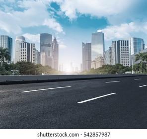 Modern urban buildings and roads