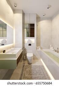 Modern Urban Contemporary Bathroom WC Interior Design with Beige tiles Mirror wall. 3d rendering