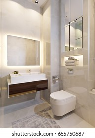 Modern Urban Contemporary Bathroom WC Interior Design with Beige tiles Mirror wall. 3d rendering
