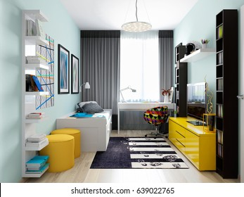 Modern Urban Contemporary Children Room Interior Design for Boy Teenager. 3d rendering