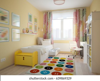 Modern Urban Contemporary Scandinavian Children Room Interior Design Yellow, White and Blue colors. 3d rendering