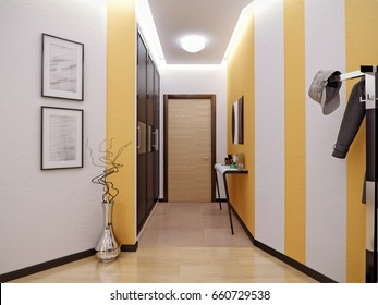 Modern Urban Contemporary Scandinavian hallway interior design with White orange striped walls, wooden doors and large wardrobe. 3d render