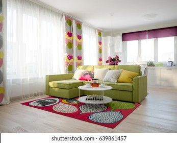 Modern Urban Contemporary Scandinavian Studio open living room dining room and kitchen Interior Design with Light green color walls, Fuchsia decor, white glossy kitchen and Light green sofa. 3d render