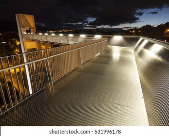 Modern urban elevator at night. Pamplona