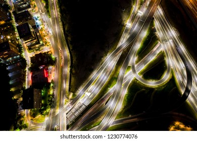 Modern urban highways at night