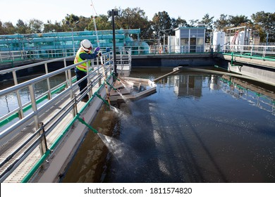 Modern urban wastewater treatment plant. Water purification is the process of removing undesirable chemicals, suspended solids and gases from contaminated water. Water cleaning facility outdoors.