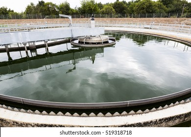 Modern urban wastewater treatment plant. Water cleaning facility outdoors. Water purification is the process of removing undesirable chemicals, suspended solids and gases from contaminated water.